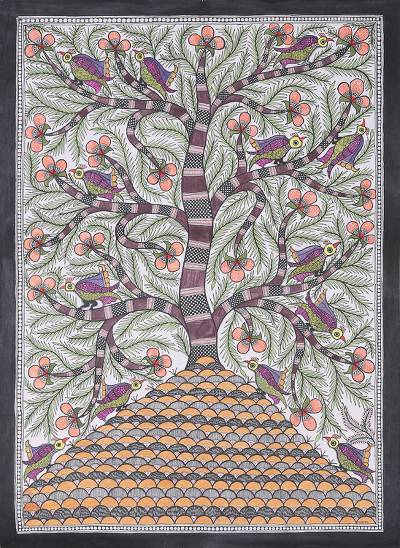 Signed Madhubani Painting of a Floral Tree from India