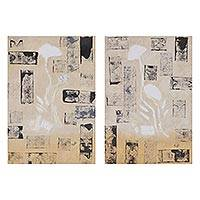 Diptych, 'Floral Symphony' - Signed Abstract Diptych in Beige from India