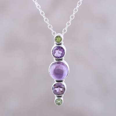 Amethyst and peridot pendant necklace, 'Glittering Union' - Amethyst and Peridot Pendant Necklace Crafted in India