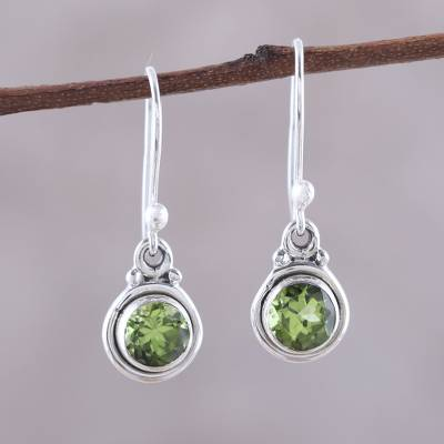 Peridot dangle earrings, 'Glistening Circles' - 4.5-Carat Peridot Dangle Earrings from India