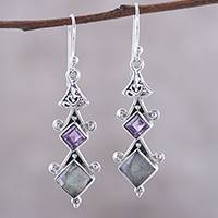 Labradorite and amethyst dangle earrings,