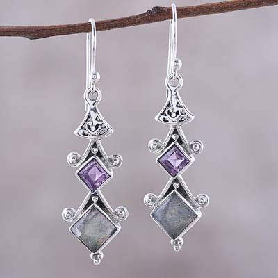 Labradorite and amethyst dangle earrings, 'Tower Charm' - Square Labradorite and Amethyst Dangle Earrings from India