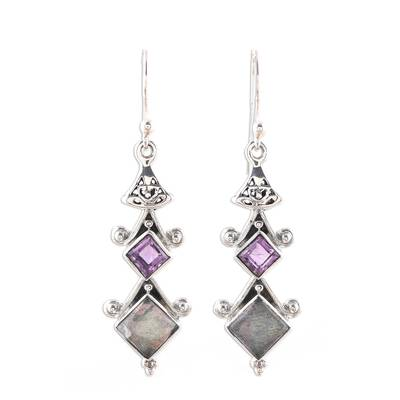 Square Labradorite and Amethyst Dangle Earrings from India