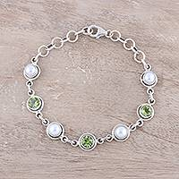 Peridot and cultured pearl link bracelet, 'Elegant Glitter' - Peridot and Cultured Pearl Link Bracelet from India