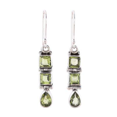 3.8-Carat Faceted Peridot Dangle Earrings from India