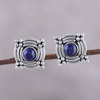 Lapis lazuli stud earrings, 'Graceful Gleam' - Circular Lapis Lazuli Stud Earrings from India