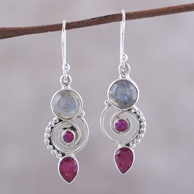 Labradorite and agate dangle earrings, 'Elegant Labyrinth' - Labradorite and Agate Dangle Earrings from India