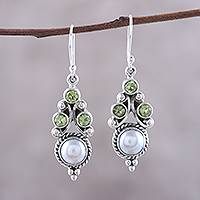 Peridot and cultured pearl dangle earrings, 'Verdant Castle' - Peridot and Cultured Pearl Dangle Earrings from India