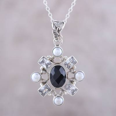 Onyx and cultured pearl pendant necklace, 'Alluring Style' - Black Onyx and Cultured Pearl Pendant Necklace from India