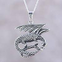 Sterling silver pendant necklace, 'Curled Dragon' - Sterling Silver Dragon Pendant Necklace from India