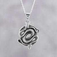 Sterling silver pendant necklace, 'Snake Lovers' - Sterling Silver Pendant Necklace of Two Snakes from India
