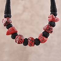 Bone beaded necklace, 'Tribal Embers' - Red and Black Buffalo Bone Beaded Necklace from India
