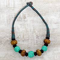 Bone beaded necklace, 'Earth Meets Sky' - Aqua and Brown Buffalo Bone Bead on Cotton Cord Necklace