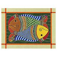 Madhubani painting, 'Fish Bonding' - Artist Signed Madhubani Fish Painting from India