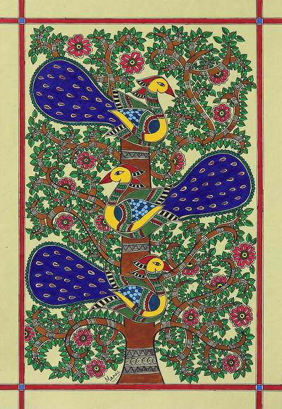 Signed Madhubani Folk Art Acrylic Peacock Painting
