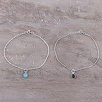 Multi-gemstone charm bracelets, 'Dainty Duo in Blue and Black' (pair) - Multi-Gemstone Sterling Silver Charm Bracelets (Pair)