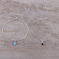 Multi-gemstone charm bracelets,