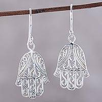 Sterling silver dangle earrings, 'Elegant Hamsa' - Hamsa Protection Motif Sterling Silver Dangle Earrings
