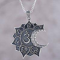 Sterling silver pendant necklace, 'Om Celestial Union' - Sun Crescent Moon and Om Sterling Silver Pendant Necklace