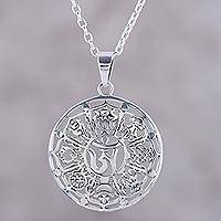 Featured review for Sterling silver pendant necklace, Floral Ashtamangala