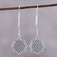 Sterling silver dangle earrings, 'Shri Yantra Mantra Glory' - Shri Yantra Mantra Motif Sterling Silver Dangle Earrings