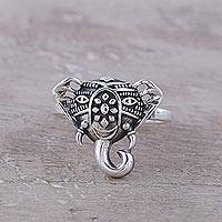 Sterling silver cocktail ring, 'Delighted Elephant' - Handcrafted Sterling Silver Smiling Elephant Cocktail Ring