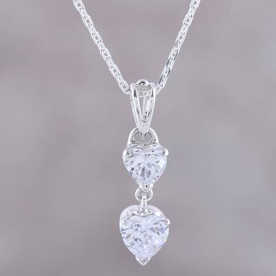 Sterling silver pendant necklace, 'Glittering Heart' - Sterling Silver and CZ Heart Pendant Necklace from India