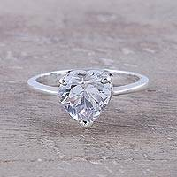 Sterling silver cocktail ring, 'Glittering Heart' - Sterling Silver and CZ Heart Cocktail Ring from India