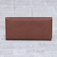 Leather wallet, 'Stylish Woman in Rosewood' - Handmade Leather Wallet in Rosewood from India