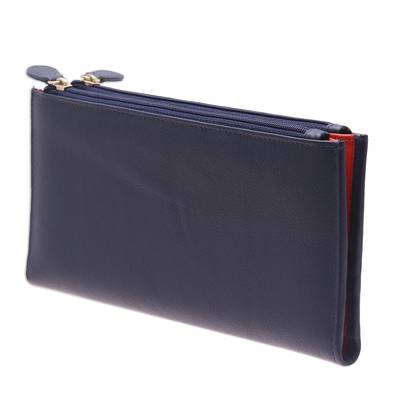 Handcrafted Leather Wallet in Cadet Blue from India