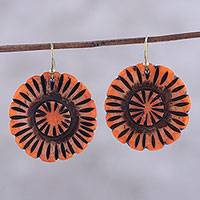 Bone dangle earrings, 'Grand Bloom in Orange' - Handcrafted Orange Buffalo Bone Flower Dangle Earrings