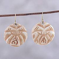 Buffalo bone dangle earrings, 'Carved Rose' - Handcrafted Beige Buffalo Bone Rose Dangle Earrings