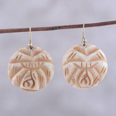 Buffalo bone dangle earrings, Carved Rose