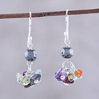Multi-gemstone dangle earrings, 'Rainbow Dance' - Multi-Gemstone Rainbow and Sterling Silver Dangle Earrings