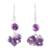 Amethyst dangle earrings, 'Dances in Purple' - Handcrafted 925 Sterling Silver and Amethyst Dangle Earrings (image 2a) thumbail