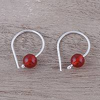 Carnelian half-hoop earrings, 'Warm Rays' - 925 Sterling Silver and Carnelian Earrings from India