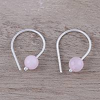 Rose quartz half-hoop earrings, 'Glowing Sunrise' - Handcrafted Sterling Silver and Rose Quartz Earrings