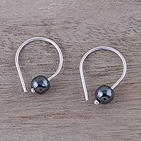 Hematite half-hoop earrings, 'Stunning Skies' - Handcrafted Sterling Silver and Hematite Earrings