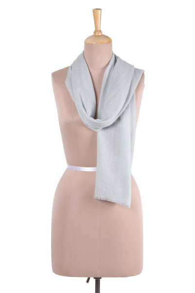 Wool scarf, 'Smart in Celadon' - Handwoven Wool Scarf in Celadon from India