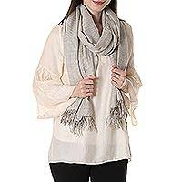 Cashmere blend shawl, 'Elegant Pinstripes' - Pinstripe Cashmere and Silk Blend Shawl from India