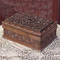 Walnut wood jewelry box, 'Kashmir Elegance' - Hand Carved Walnut Wood Jewelry Box with Floral Motif