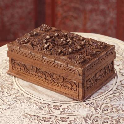 Wood jewelry box, 'Blossoms of Kashmir' - Hand-Carved Walnut Wood Jewelry Box from India