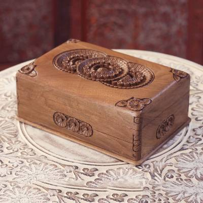 Wood jewelry box, 'Triple Bloom' - Handcrafted Floral Wood Jewelry Box from India