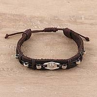Leather wristband bracelet, 'Starry Pendant' - Metal Accent Leather Wristband Bracelet from India