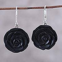 Ebony wood dangle earrings, 'Royal Rose' - Rose Flower Ebony Wood Dangle Earrings from india