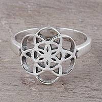 Sterling silver cocktail ring, 'Floral Illusion' - Geometric Sterling Silver Cocktail Ring from India