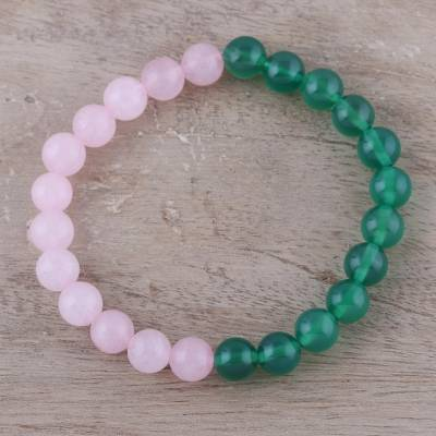 Rose quartz and green onyx beaded stretch bracelet, First Blush
