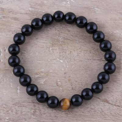 Onyx and tiger's eye beaded stretch bracelet, 'Midnight Symphony' - Onyx and Tiger's Eye Handmade Beaded Stretch Bracelet