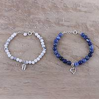 Sodalite and howlite beaded bracelets, 'Loving Couple' (pair) - Romantic Sodalite and Howlite Beaded Bracelets from India