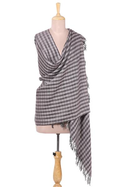 Wool blend shawl, 'Checkered Queen in Grey' - Checkered Wool Blend Shawl in Grey from India